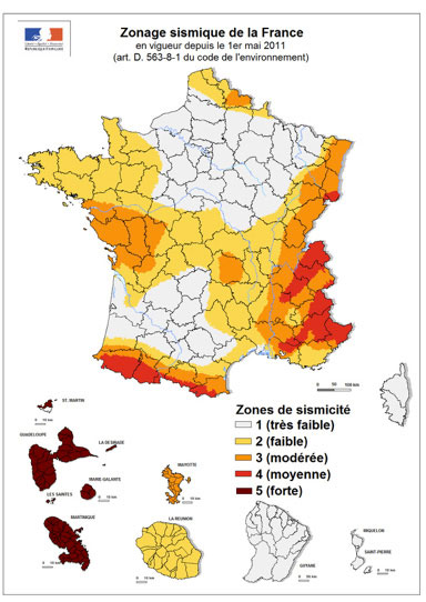 Zonage sismique en France
